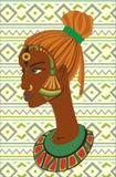 Портрет нарисованный рукой Афро-американских женщин Стоковое Изображение RF