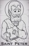Портрет нарисованный рукой изображения St Peter отделанный в камне, иллюстрации вектора бесплатная иллюстрация