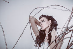 Портрет невесты брюнет красивой молодой моды сексуальной Стоковая Фотография
