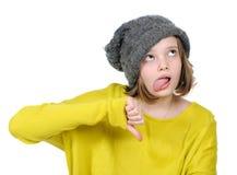 Портрет несчастного жеста показа девочка-подростка Стоковые Изображения RF