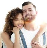 Портрет нов-пожененной пары мечтая покупать их квартиру Стоковая Фотография RF