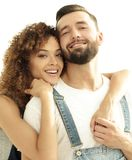 Портрет нов-пожененной пары мечтая покупать их квартиру Стоковое Фото