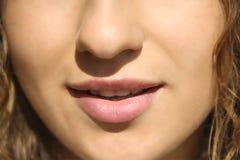 Портрет носа губ губ девушки Стоковое Изображение