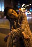 Портрет ночи милой женщины, улиц Киева Стоковые Фото