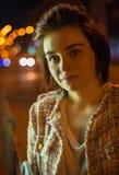 Портрет ночи милой женщины Стоковая Фотография