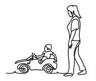 Портрет образа жизни матери и сына внешний в установке парка Непрерывная линия чертеж Изолировано на белой предпосылке Стоковая Фотография