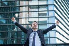 Портрет одного менеджера после договора подряда стоковое изображение rf