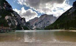 Портрет озера Braies Стоковое фото RF