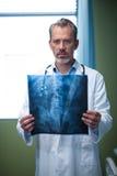 Портрет доктора анализируя терпеливый рентгеновский снимок в палате Стоковые Фото