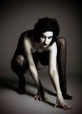 Портрет опасной и сексуальной женщины демона Стоковое фото RF