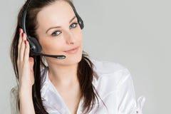 Портрет оператора телефона с шлемофоном Стоковые Изображения