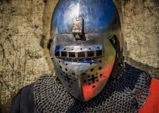 Портрет лорда рыцаря в шлеме Стоковая Фотография