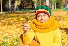 Портрет осени Афро-американского красивого ребенка Счастливое littl Стоковое Фото