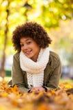 Портрет осени внешний красивого Афро-американского молодого woma стоковое изображение rf