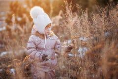 Портрет осени девушки в бежевой куртке и белой шляпе идя в поле Стоковое Изображение