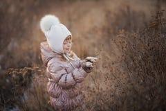 Портрет осени девушки в бежевой куртке и белой шляпе идя в поле Стоковое фото RF