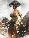 Портрет охотника фантазии женского держа волшебный экран и война бьют молотком иллюстрация штока