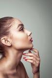 Портрет очарования профиля красивой молодой женщины стоковое фото rf