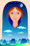 Портрет одеяла с ландшафтом Стоковая Фотография