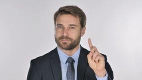 Портрет пальца бизнесмена развевая, который нужно отказать видеоматериал