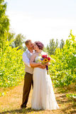 Портрет пар свадьбы виноградника Стоковые Фотографии RF
