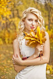 Портрет падение девушки в древесину Стоковое Изображение
