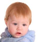 портрет платья голубого мальчика младенца Стоковые Фото