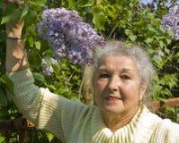 Портрет пожилой женщины с сиренью Стоковое Изображение RF