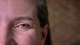 Портрет полу-стороны крупного плана красивого взрослого женского серого глаза смотря прямо на камере Усмехаясь выражение лица сток-видео