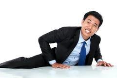 Портрет подъема бизнесмена стена стоковая фотография