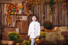 Портрет прелестной усмехаясь девушки представляя с корзиной яблока в интерьере падения деревянном Стоковые Изображения RF