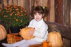 Портрет прелестной усмехаясь девушки представляя с оранжевой тыквой в интерьере падения деревянном Стоковое Фото
