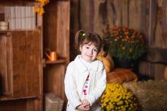Портрет прелестной усмехаясь девушки представляя с оранжевой тыквой в интерьере падения деревянном Стоковая Фотография