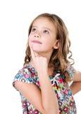 Портрет прелестной мечтая изолированной маленькой девочки Стоковые Фотографии RF