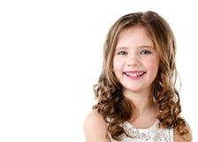 Портрет прелестной счастливой изолированной маленькой девочки Стоковая Фотография