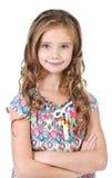 Портрет прелестной усмехаясь изолированной маленькой девочки Стоковые Изображения RF