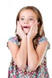 Портрет прелестной удивленной изолированной маленькой девочки Стоковые Фотографии RF