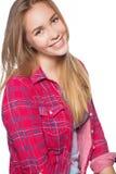 Портрет предназначенной для подростков девушки показывая зубоврачебные расчалки стоковые изображения rf