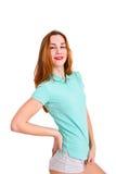 Портрет привлекательной девушки на белой предпосылке Стоковое Изображение RF