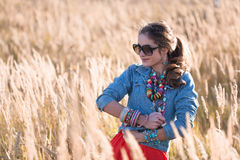 Портрет привлекательной девушки на поле в солнечных очках Стоковое Фото