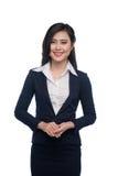 Портрет привлекательной молодой коммерсантки изолированной на белизне Стоковое Изображение RF