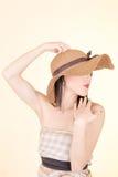 Портрет привлекательной шикарной сексуальной шляпы женщины Стоковые Фото