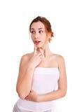 Портрет привлекательный думать девочка-подростка Стоковые Фото