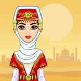 Портрет принцессы анимации восточной в старых одеждах Предпосылка - пустыня иллюстрация вектора