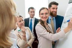Портрет профессиональной бизнес-леди анализируя возможности стоковая фотография rf