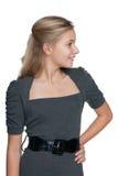 Портрет профиля белокурой предназначенной для подростков девушки стоковое изображение