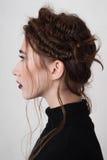 Портрет профиля девушки с кровопролитными губами Стоковые Фото