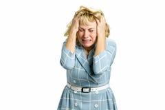 Портрет плача женщины отчаяния Стоковая Фотография