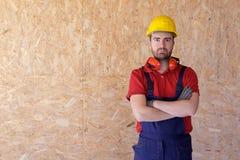 Портрет плотника с деревянным теплоизолирующим материалом Стоковые Изображения RF