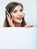 Портрет работника обслуживания клиента женщины, усмехаться центра телефонного обслуживания Стоковые Изображения